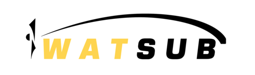 Simple lines WatSub logo in yellow and black