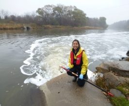 Sampling a wastewater outfall