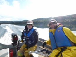 Graduate students on Lake Superior
