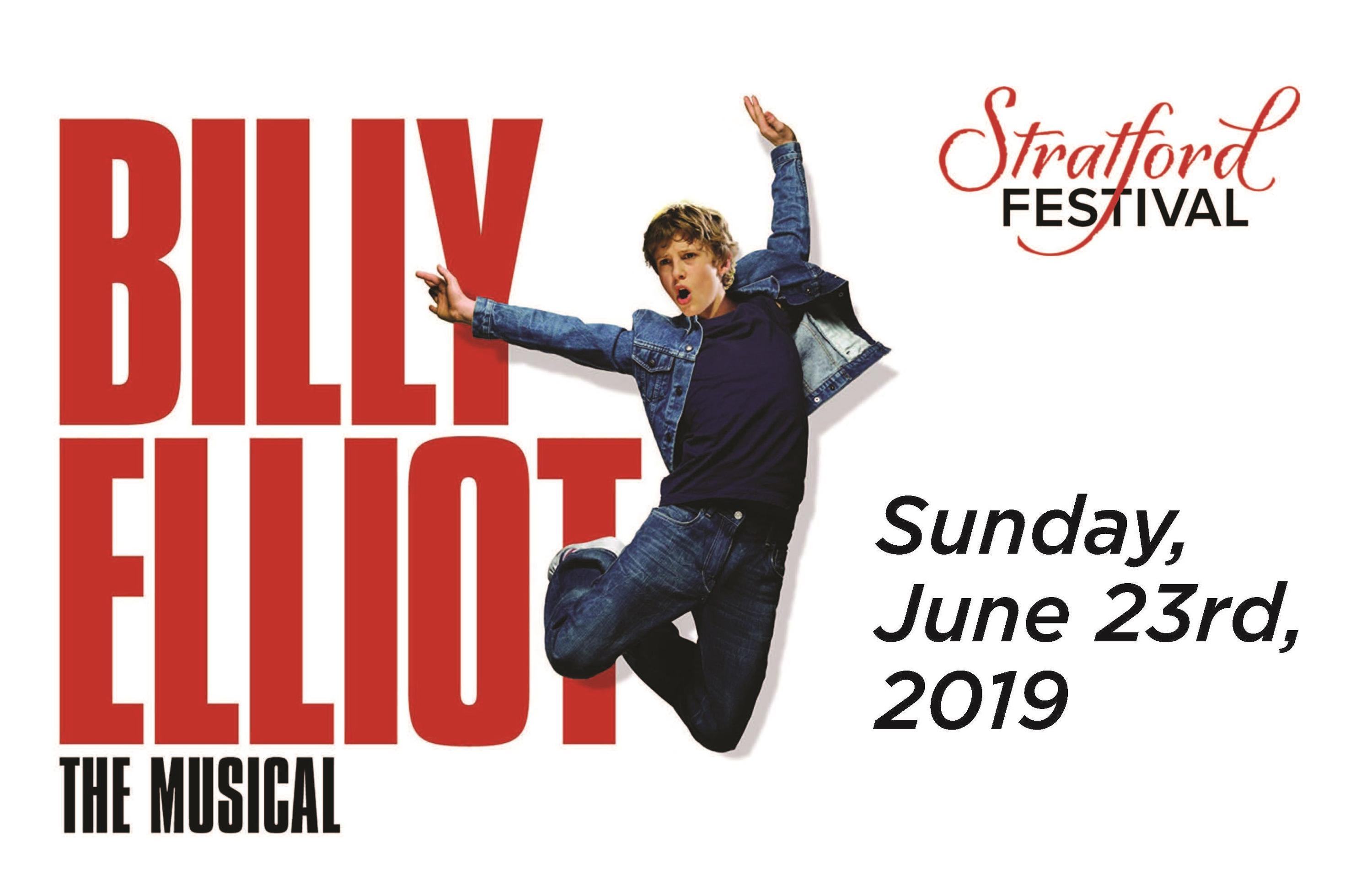 Billy Elliot, the musical. Stratford Festival. Sunday, July 23rd 2019. Image of Billy Elliot, a young boy jumping.
