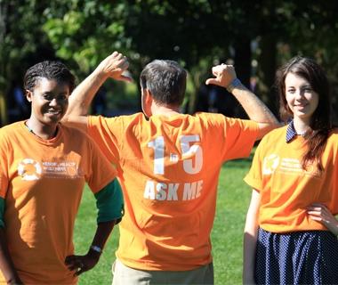 Staff wearing mental health awareness t-shirts