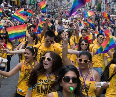 Waterloo students participating in Toronto Pride Parade