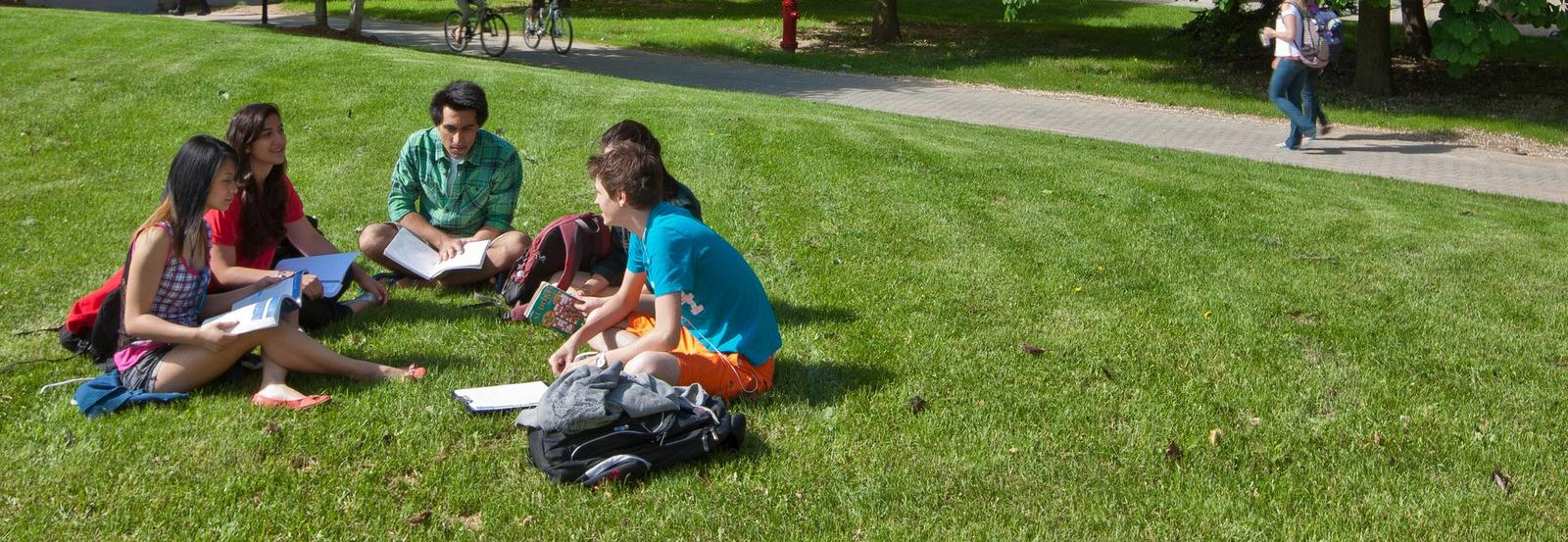 Students sitting on grass discussing