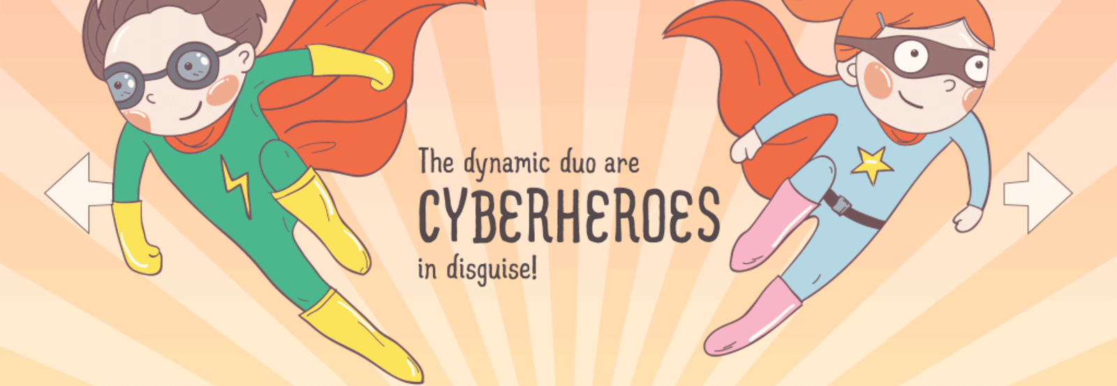 Cyberheroes graphic, featuring two flying superheroes