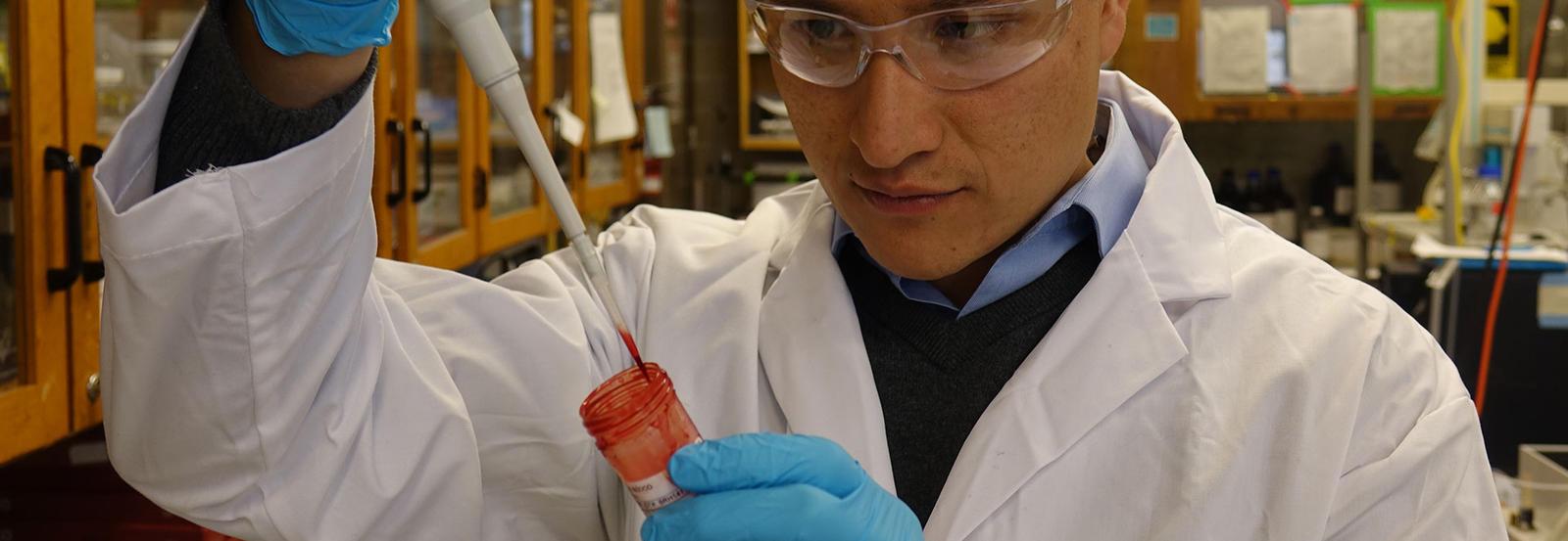 German Gomez-Rio tests a blood sample.