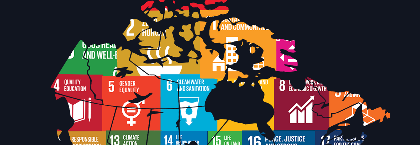 Map of Canada with sustainable development goals printed on it.
