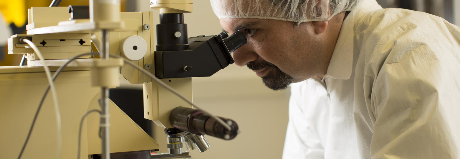 A researcher gazes into a microscope