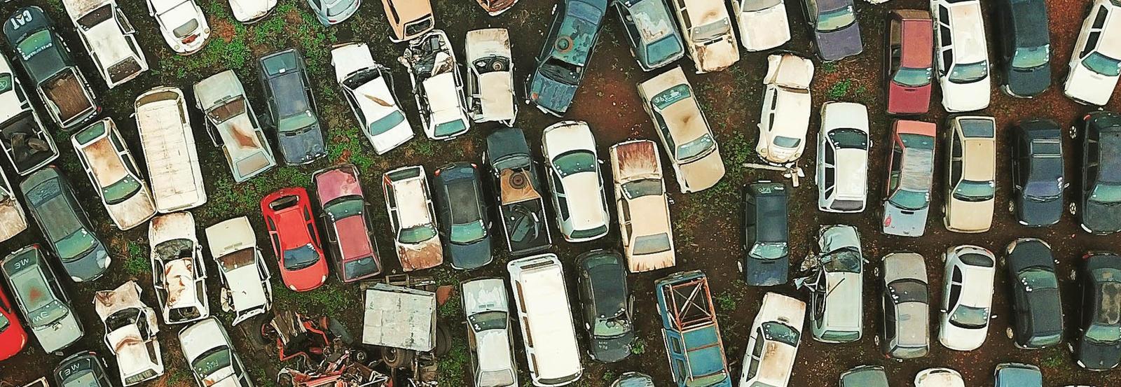junkyard aerial shot