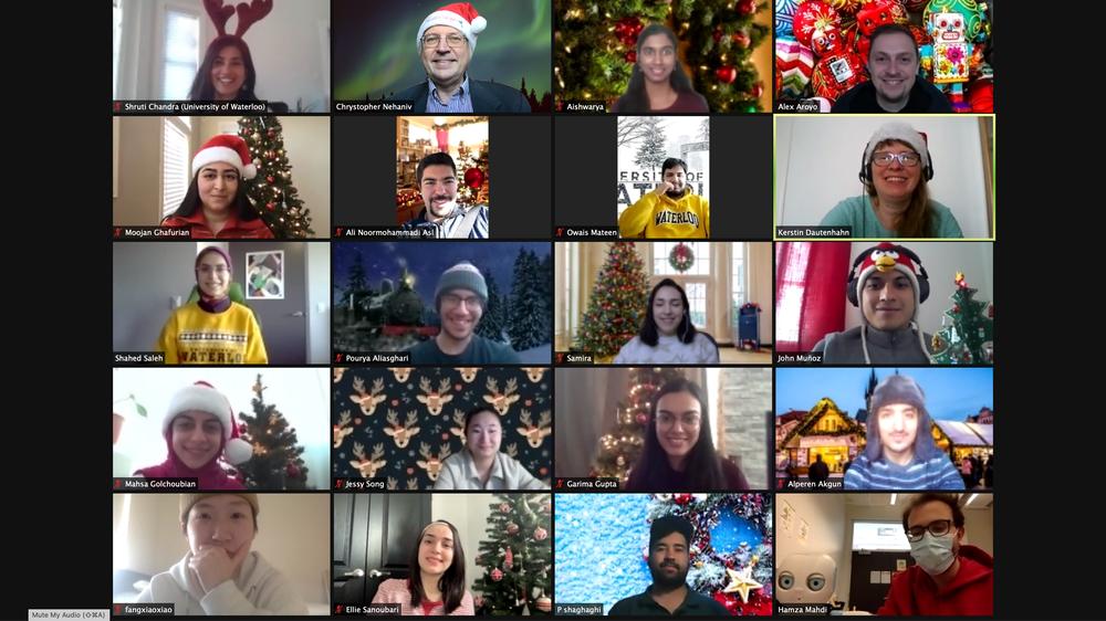 sirrl people on zoom, Christmas themed