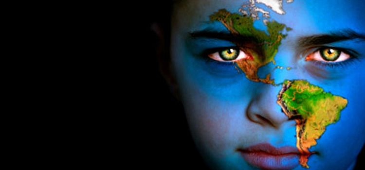 Picture of a girl with the map of Latin American across her face