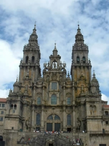 The Western façade of the Cathedral of Santiago de Compostela in Galicia, Spain