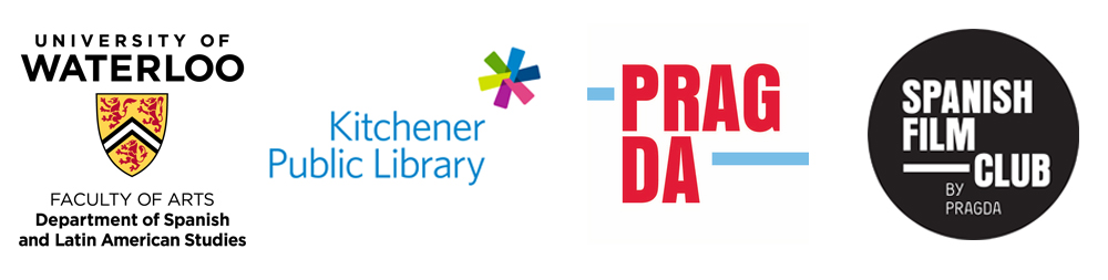 Waterloo, Kitchener Public Library and Pragda Film club logos