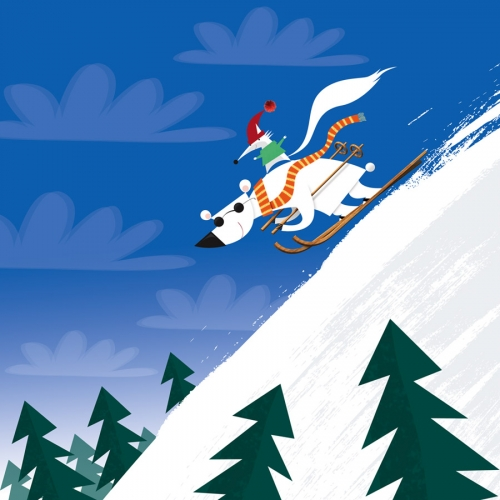 Dog skiing