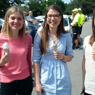 3 women eating ice cream
