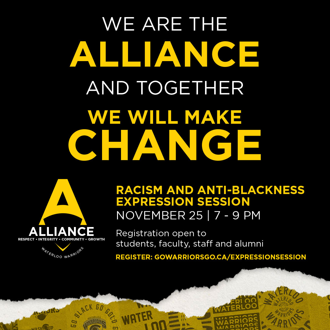 black and gold poster announcing alliance