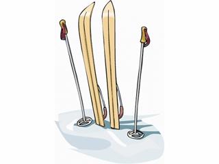 ski and poles