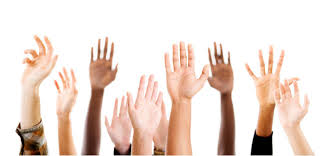 hands raised to vote