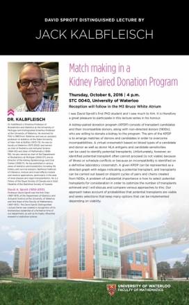 Event poster, picture of Dr. Kalbfleisch smiling