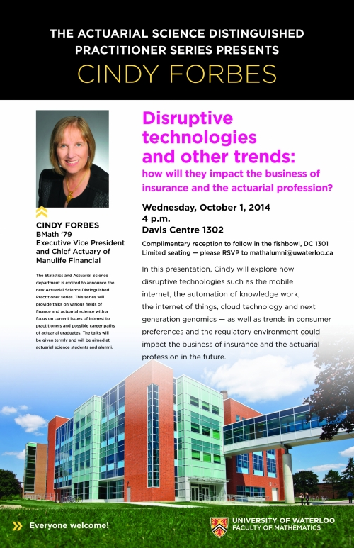 """Disruptive technologies and other trends"" lecture poster."