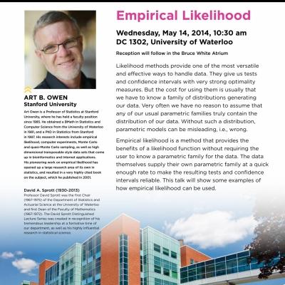 "Art Owen, May 14, 2014 lecture on: ""Empirical Likelihood"""