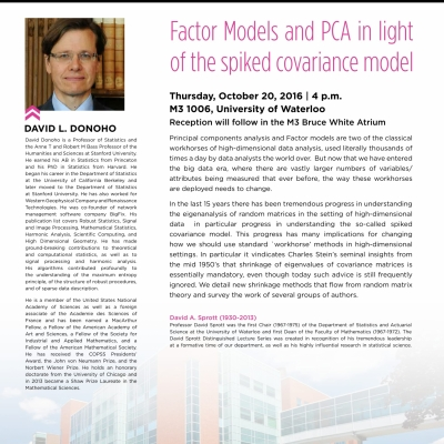 David L. Donoho, October 20th, 2016 lecture on: Factor models and PCA in light of the spiked covariance model