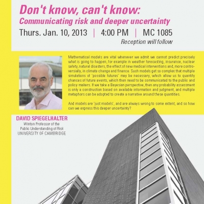 """David Spiegelhalter, University of Cambridge, January 10th 2013 lecture on: """"Don't know, can't know: communicating risk[...]]"""
