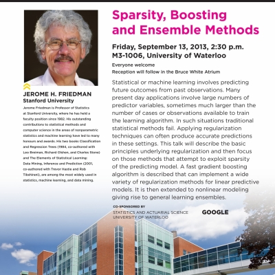 """Jerome Friedman, September 13th 2013 lecture on: """"Sparsity, boosting and ensemble methods"""""""