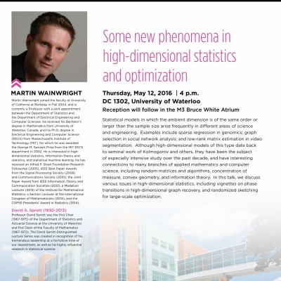 """Martin Wainwright, May 12th 2016 lecture on: """"Some new phenomena in high-dimesional statistics and optimization"""""""