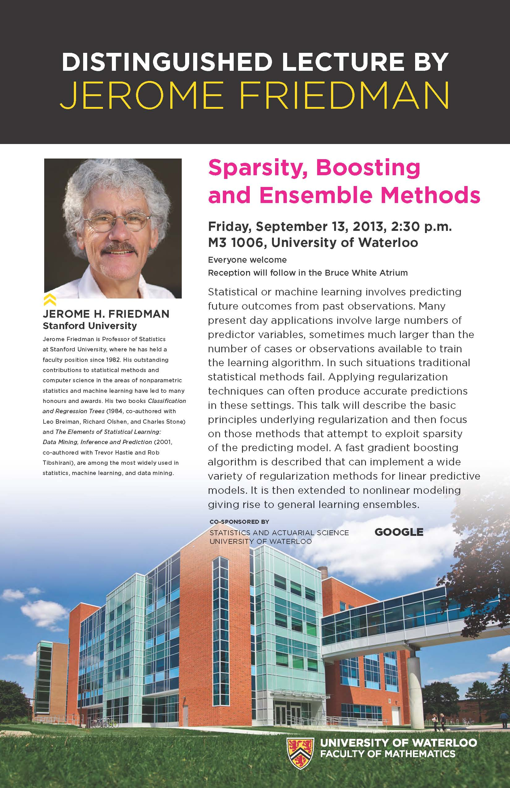 """Sparsity, Boosting and Ensemble Methods"" lecture poster."