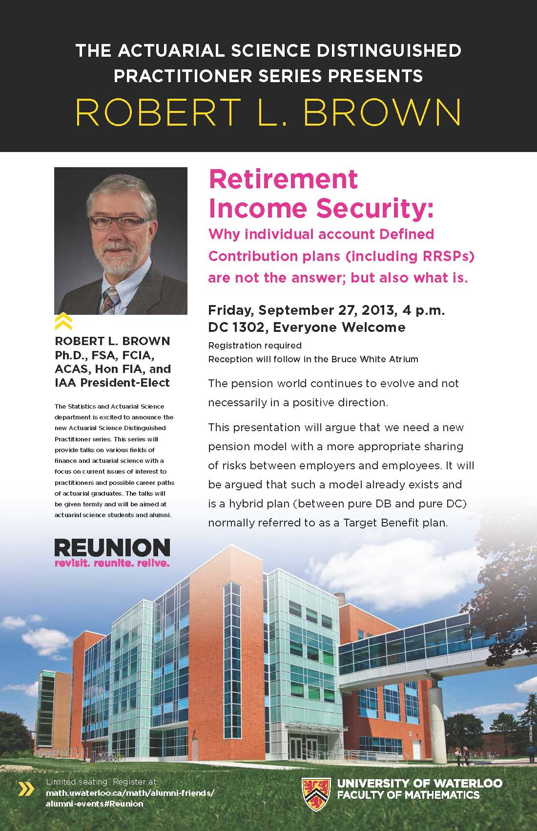 "Retirement income security"" lecture poster."