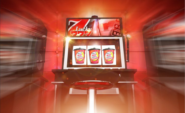 Slot machine with Tim Hortons roll-up-the-rim cups