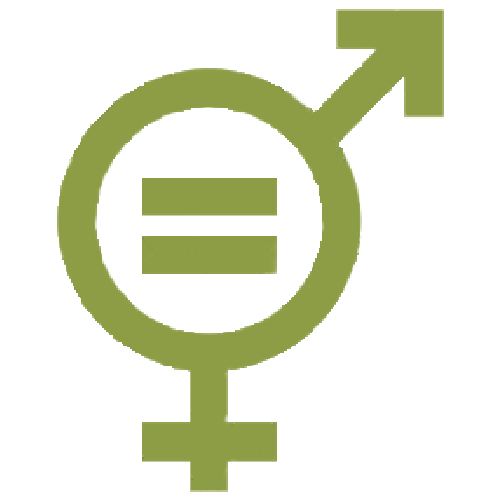 Gender symbols superimposed with equal sign in the middle
