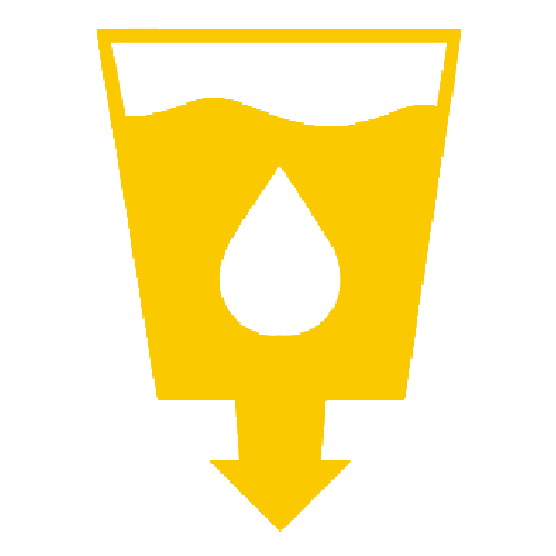 A cup with liquid and an arrow pointing down