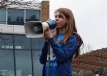 Photo of Lexi with a megaphone