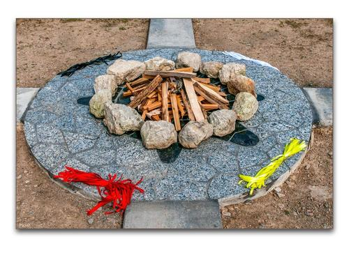 rocks with wood and ribbons in firegrounds