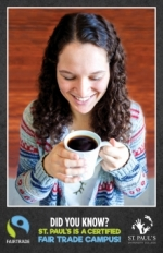 Poster of female student holding Fair Trade coffee