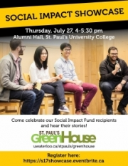 Social Impact Showcase poster with image of 4 GreenHouse people and text overlay