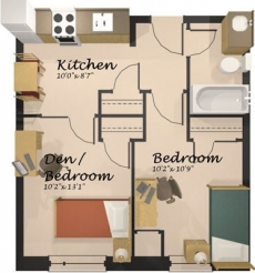 A layout of the economy room (upper-year suite).