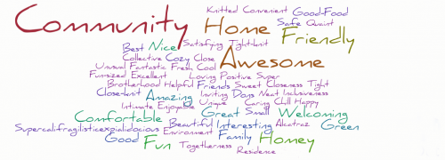 Word cloud with 'Community' and 'Awesome' predominating