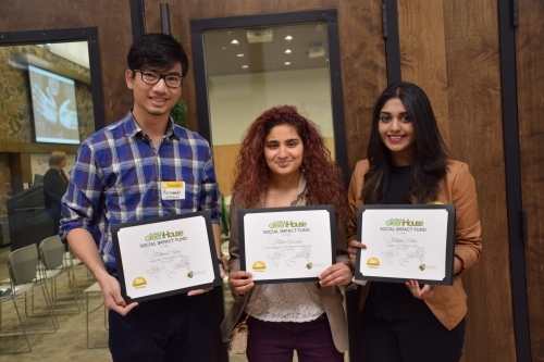 The three recipients of the Social Impact Fund