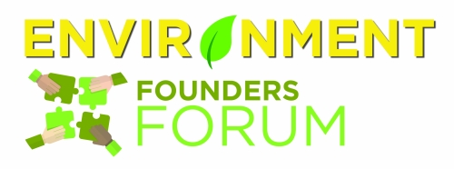 "Environment (the ""o"" is a leaf) Founders forum logo"