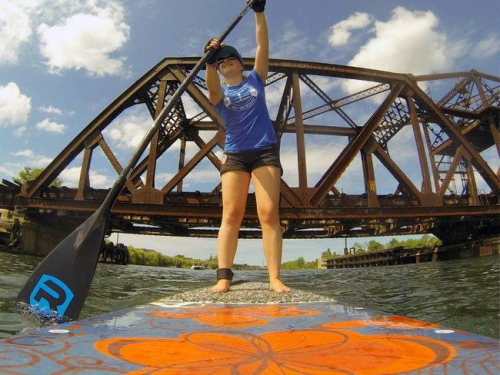 Maddi on a paddle board on the Welland Canal