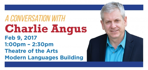 Charlie Angus event banner with name and date of event