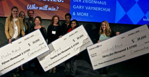 Renish and other winners with their 'cheques'
