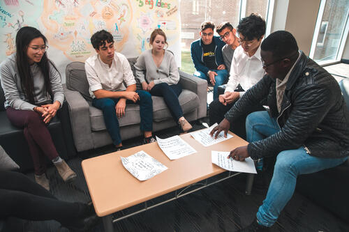 students brainstorming around a table