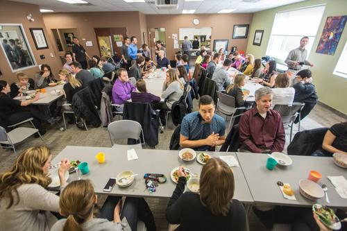group of students and staff at soup and bannock lunch