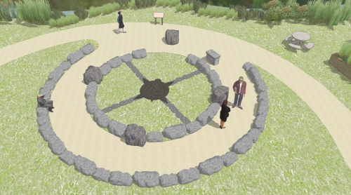 Rendering of ceremonial fire grounds