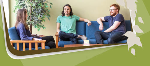 group of students sitting on couches and chairs