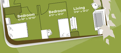 2 bedroom line drawing in a content banner