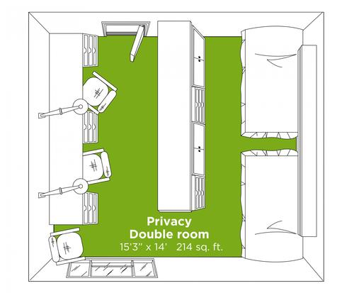 Privacy Double room layout